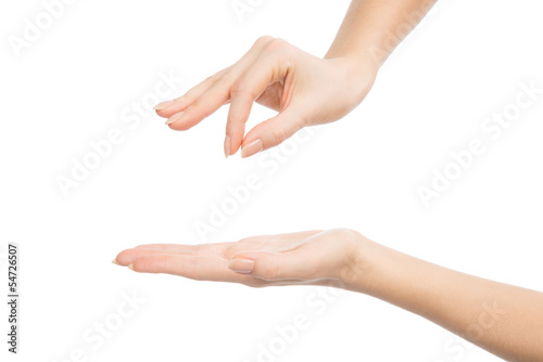 Woman hands hold sign virtual business card and open palm
