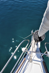 View from the nose of sailboat