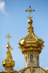 Closeup of golden cupola in Summer Gardens - Peterhof, Russia.