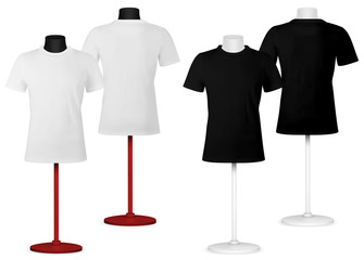 Plain t-shirt on mannequin torso template. Front and back views.