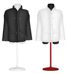 Plain long sleeve jacket on mannequin torso template.