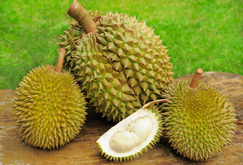 Durians and Durian Flesh in Husk