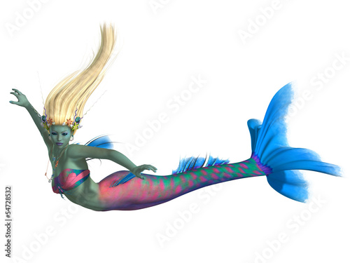 Poster Zeemeermin Mermaid on White