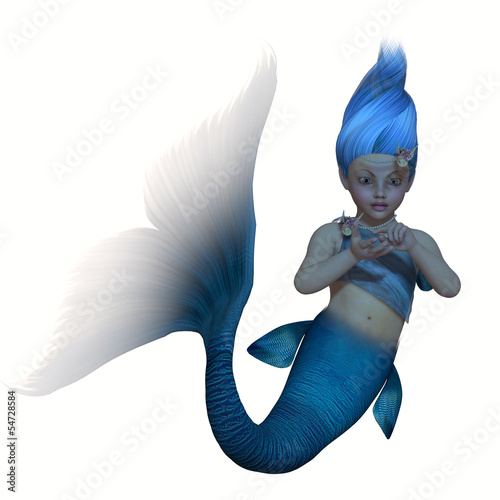 Poster Zeemeermin Turquoise Mermaid Baby on White
