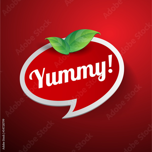 Yummy label or speech bubble
