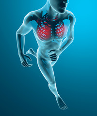 Uomo scheletro in corsa dolore torace respirazione