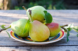 Fresh pears on a plate