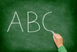 ABC, education and primary school blackboard