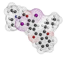 Amiodarone antiarrhythmic drug, chemical structure.