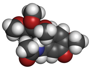 Colchicine gout drug, chemical structure.