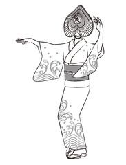 おけさ笠で盆踊りする女性