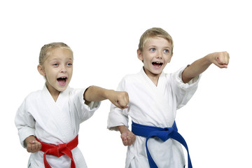Sister and brother teach punch hands isolated background