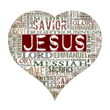 Kocham Jesus Religijne słowach samodzielnie na białym tle
