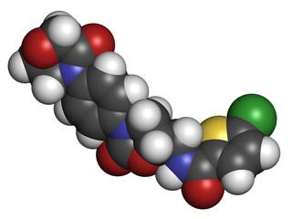 Rivaroxaban anticoagulant drug, chemical structure.