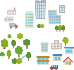 住宅街、オフィス街、緑地の素材
