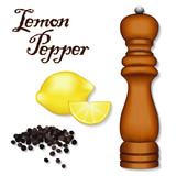 Lemon Pepper, whole black peppercorns, wood mill, spice grinder