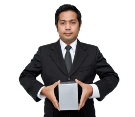 a businessman holding a pile of package parcels (isolated on whi