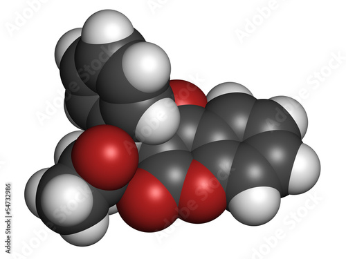 Warfarin anticoagulant drug, chemical structure.