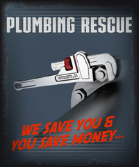 plumbing service vector illustration poster
