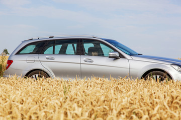 Woman driving car in front of the cereal field
