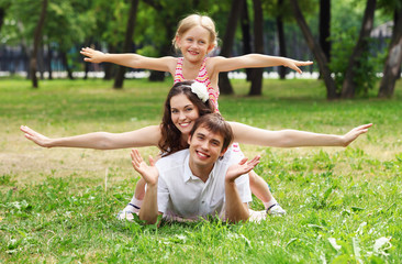 happy family having fun outdoors