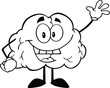 Outlined Happy Brain Cartoon Character Waving For Greeting