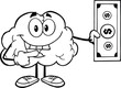 Outlined Smiling Brain Character Showing A Dollar Bill