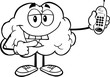 Outlined Happy Brain Character Holding A Mobile Phone