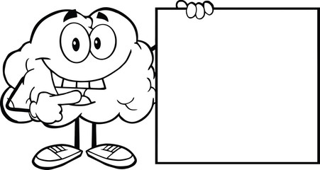 Outlined Happy Brain Cartoon Character Showing A Blank Sign