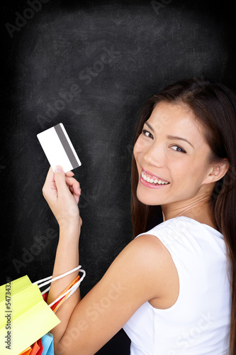 Shopping woman with credit card on blackboard