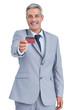 Handsome businessman holding credit card