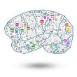 Brain social With Colorful application icon concept,isolated on