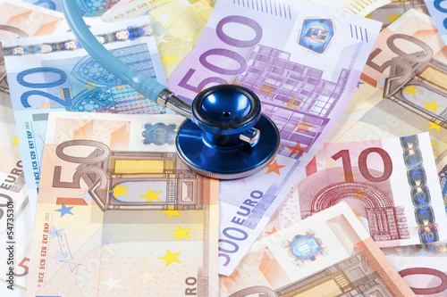 EUROPEAN UNION BANKNOTES AND STETHOSCOPE