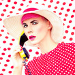 fashion portrait of a retro girl with a phone