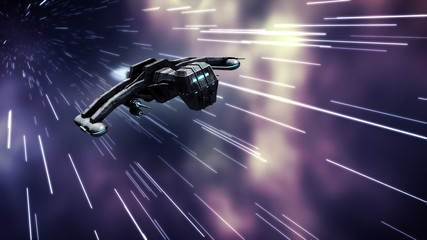 Animation of futuristic spaceship in warp speed