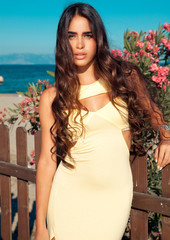 attractive feminine in elegant dress by the sea.