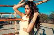 beautiful young woman with long shine hair. outdoors