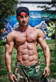 Shirtless bodybuilder showing torso muscles, abs, pecs and arms poster