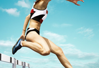 Female hurdle runner