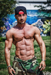 Shirtless bodybuilder showing torso muscles, abs, pecs and arms