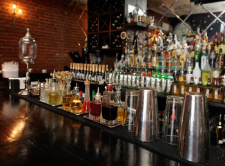 Bitters and infusions on bar counter