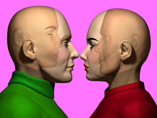man and woman see themselves in the opposite person