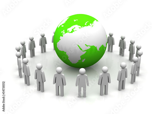 3d render of people around globe
