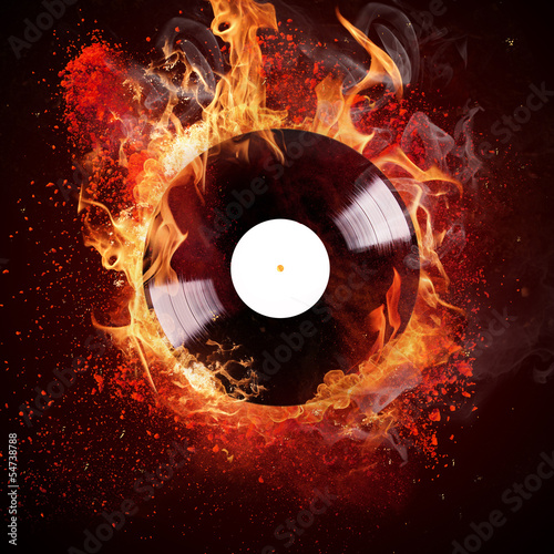 Plakat burning vinyl disc
