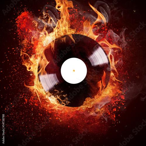 Obraz burning vinyl disc
