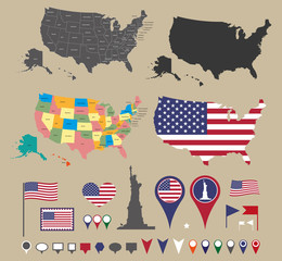 usa map set and national symbolic with location icons