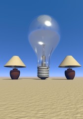 Two lamps and a bulb