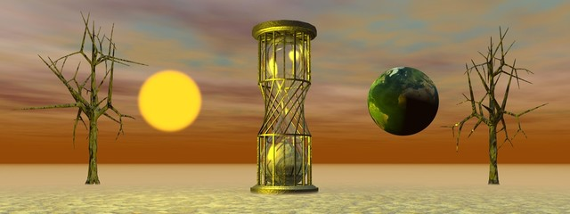 hourglass and world and sun