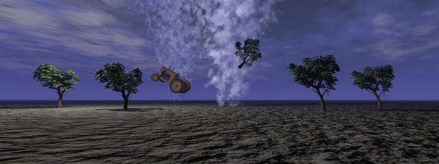 a tornado and trees