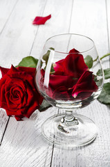 Glass with red rose